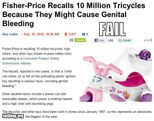 design failboat genitalia injuries Probably bad News recalls toys