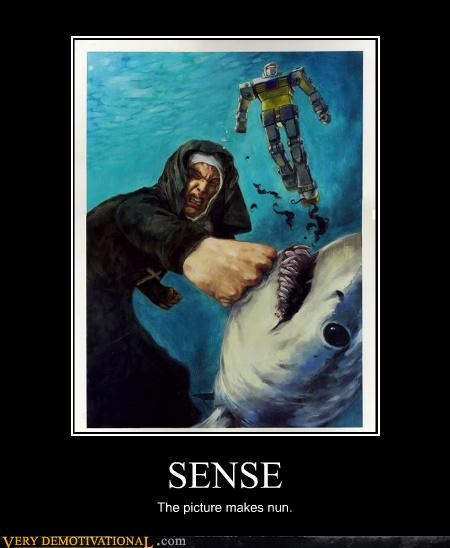 awesome nun ocean punching puns Pure Awesome robots shark transformer wtf - 4018761728