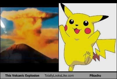 explosion,nature,pikachu,Pokémon,volcano