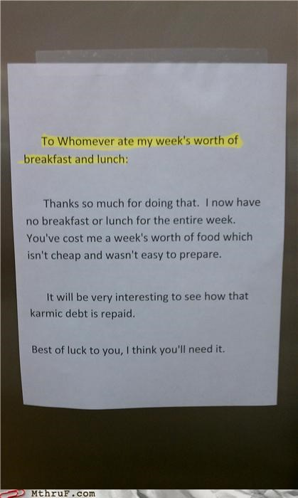 food,notes,passive aggressive,thief