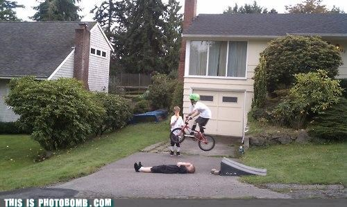 awesome,bike culture,hover bike,hypothetical technology,Impending Doom,jumps,kids,ouch,photobomb