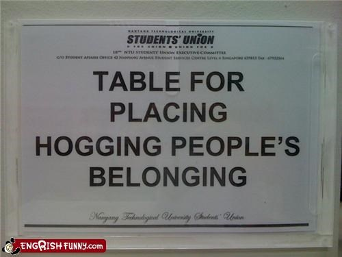 hog,sign,studends,table