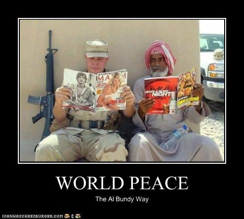 al bundy,magazines,married with children,maxim,middle east,military,peace,toilet,TV,world peace