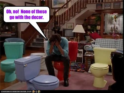 decor,frustrated,full house,john stamos,Sad,toilets