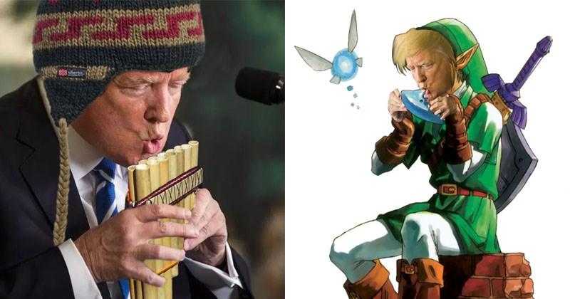 Funny Donald Trump photoshop battle regarding his water drinking.