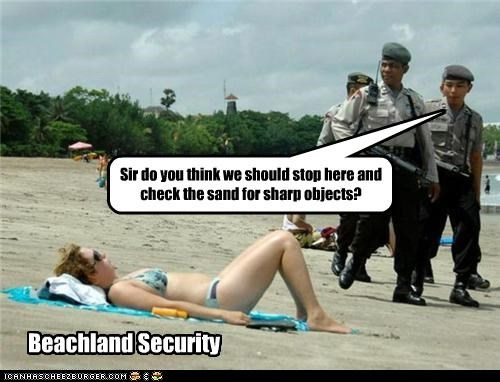 Beachland Security Sir do you think we should stop here and check the sand for sharp objects?