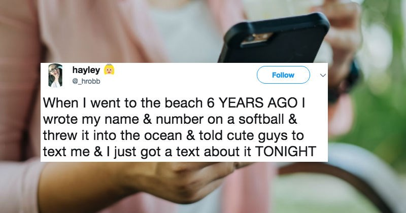 Woman chucks softball into the ocean with her number on it, and receives a text 10 years later.