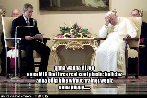 george w bush,political pictures,Pope John Paul II