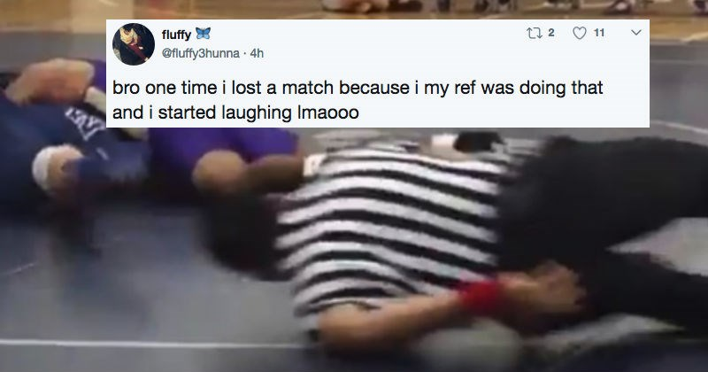 Ridiculous ref is overcommitted to doing a great job during an intense wrestling match.