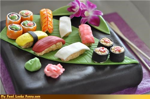 art cake decorated fish fondant seaweed sushi Sweet Treats wasabi