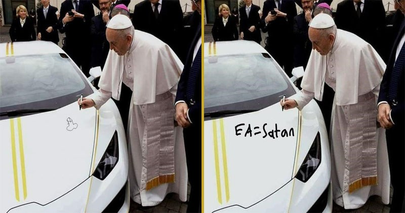 Funny photoshop memes of Pope Francis signing a Lamborghini