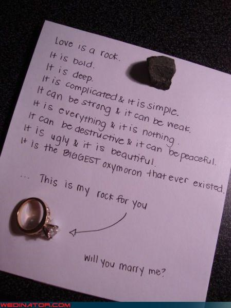 bride,diamond ring,dumb love metaphor,engagement ring,funny wedding photos,ice ice baby,letter,love letter,marriage proposal,proposal,proposing with a rock,rock,surprise,were-in-love