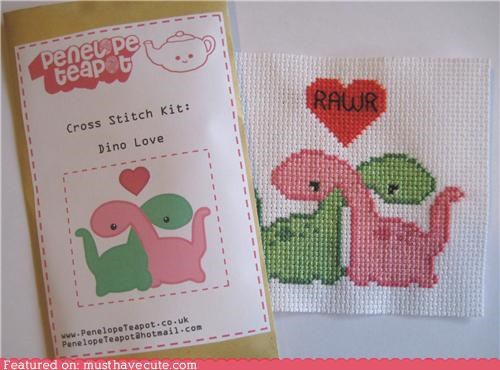 craft,cross stitch,cute-kawaii-stuff,dinosaurs,green,kit,love,pink