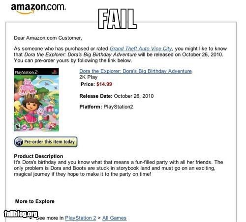 amazon,dora,Grand Theft Auto,g rated,suggestion fails,video games
