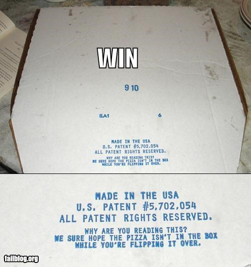 box clever failboat g rated packaging pizza upside down win - 4031742464