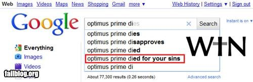 Autocomplete Me,failboat,google,g rated,optimus prime,search,win