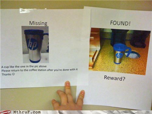 cup,hp,lost and found,reward,signs