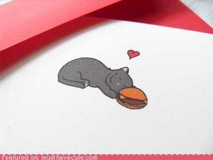 accessory,burger,card,cat,cheeseburger,cheezburger,cute-kawaii-stuff,happy,kitteh,kitty,love,Office,stationary