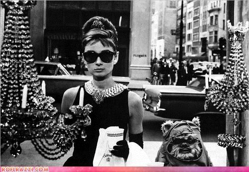 Audrey Hepburn breakfast-at-tiffanys ewok photoshopped ROFL Photo of the Day sci fi star wars - 4036112128