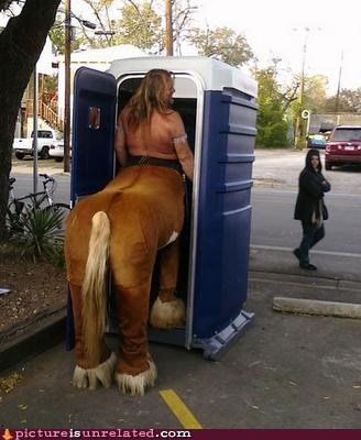 centaur,dirty,mythical creature,porta potty,wtf