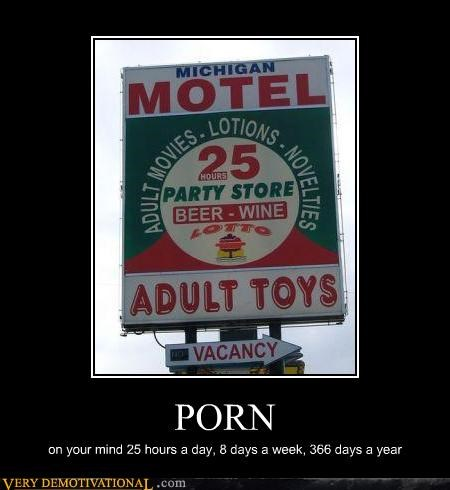 adult movies,beer,idiots,impossible,motel,toys,wine