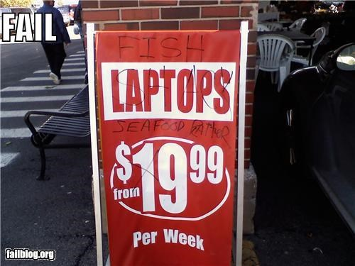 failboat,fish,food,g rated,laptops,sale,sign,technology