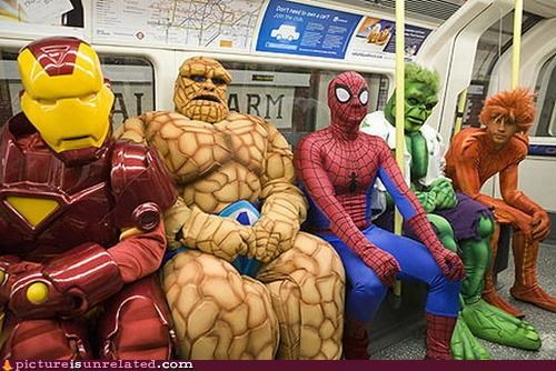 costume,hulk,in this economy,iron man,Spider-Man,superheros,The Thing,wtf