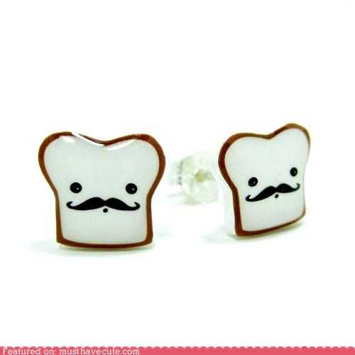 accessory attitude earrings french Jewelry mustache naughty studs toast - 4038572032