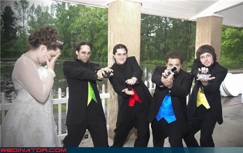 bride,colorful vests,coordinated groomsmen,crazy groom,embarrassed bride,fashion is my passion,funny wedding photos,Groomsmen,mighty-morphin-groomsmen,nerdy groomsmen,wedding party,Wedding Themes
