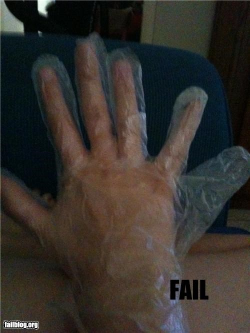 Awkward classic extra fingers failboat g rated plastic glove - 4039988992