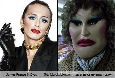 commercial creepy drag James Franco makeup snickers