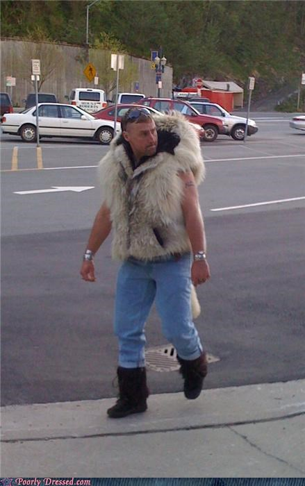dude,fur coat,gross,rare,sasquatch