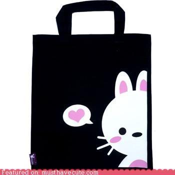 bag black bunny heart love pink speech bubble tote white - 4041398528