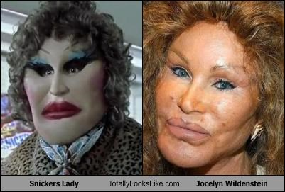 commercials creepy Hall of Fame Jocelyn Wildenstein lady plastic surgery snickers