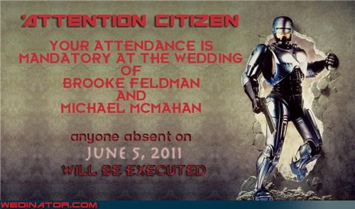 funny wedding photos,robocop,RoboCop save the date,Sheer Awesomeness,were-in-love,Wedding Themes