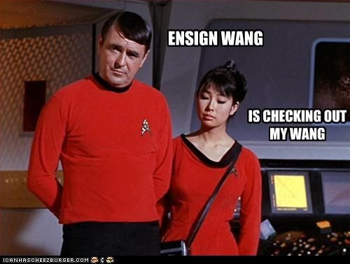 ENSIGN WANG IS CHECKING OUT MY WANG