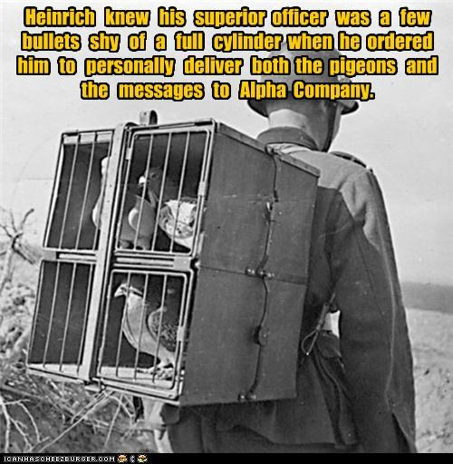 Heinrich knew his superior officer was a few bullets shy of a full cylinder when he ordered him to personally deliver both the pigeons and the messages to Alpha Company.