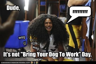 """Dude, It's not """"Bring Your Dog To Work"""" Day. rrrrrrrrr (( )) wag wag"""