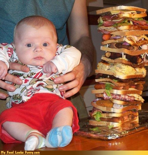 baby,bacon,bread,burgers and sandwiches,cheese,condiments,fruits-veggies,huge,meat,protein,sanwich,stupid