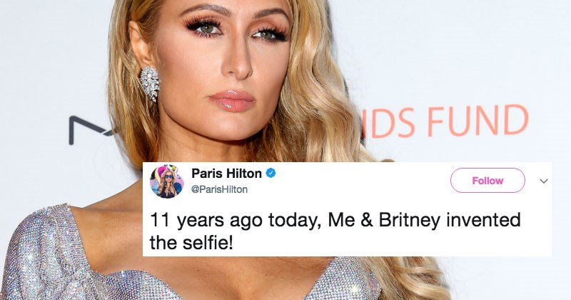 Paris Hilton claims she invented the selfie, and proceeds to get roasted by people on Twitter.