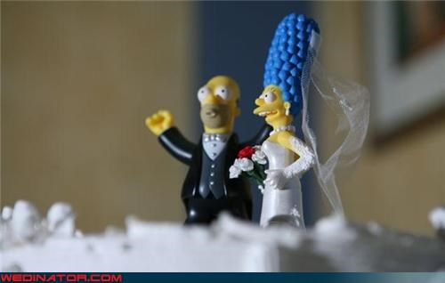 adorable cake topper,bride,cute cake topper,Dreamcake,funny wedding photos,glue gun,groom,Marge and Homer cake topper,Simpsons cake topper,Simpsons-themed cake topper,were-in-love,Wedding Themes