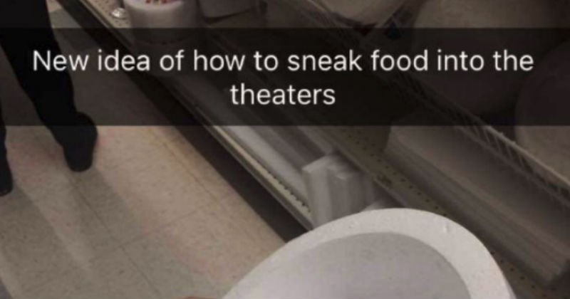 Woman gets caught on Snapchat sneaking tons of snacks into the movies, in an absolutely genius way.