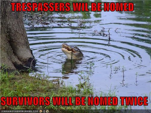 caption captioned crocodile nom nommed promise punishment trespassers trespassing warning