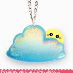 cloud face glitter Jewelry necklace shy sparkly sun - 4052584704
