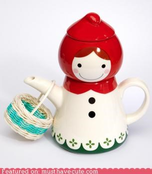 accessory,basket,cute-kawaii-stuff,figurine,Kitchen Gadget,Little Red Riding Hood,tea,tea cup,teabag,teapot