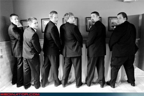 black and white,crazy groom,crazy groomsmen picture,eww,funny wedding photos,Groomsmen,groomsmen peeing,groomsmen urinal picture,gross,surprise,symbolism,technical difficulties,wedding party,wtf,wtf is this