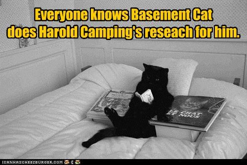 basement cat caption captioned cat everyone fact family radio harold camping knows prediction research