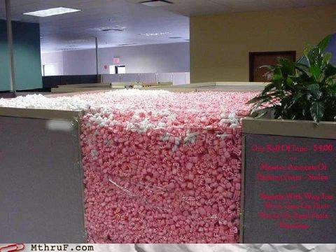 cubicle prank,keyboard,packing peanuts,pink