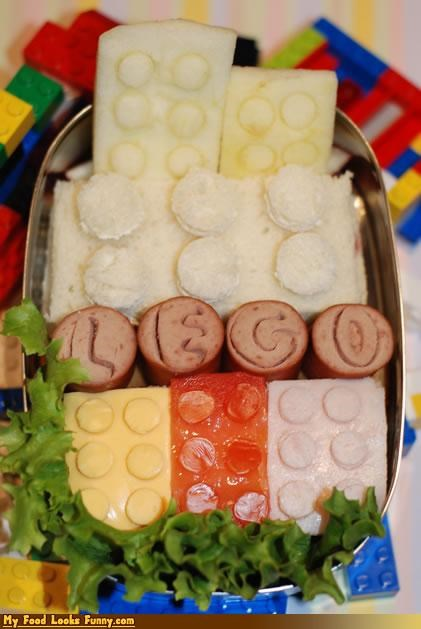 bento box box bread burgers and sandwiches cheese condiments cute fruits-veggies healthy hot dogs lego lunch meat snack snacks