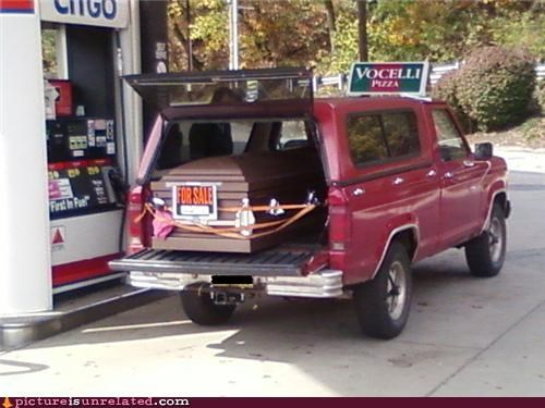 america,cars,casket,gas station,interesting combination,wtf